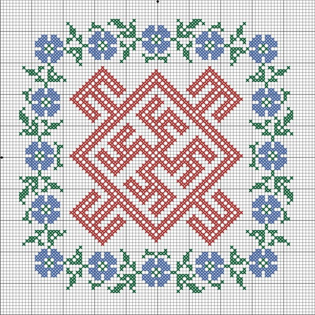Одолень-трава оберег схема вышивки