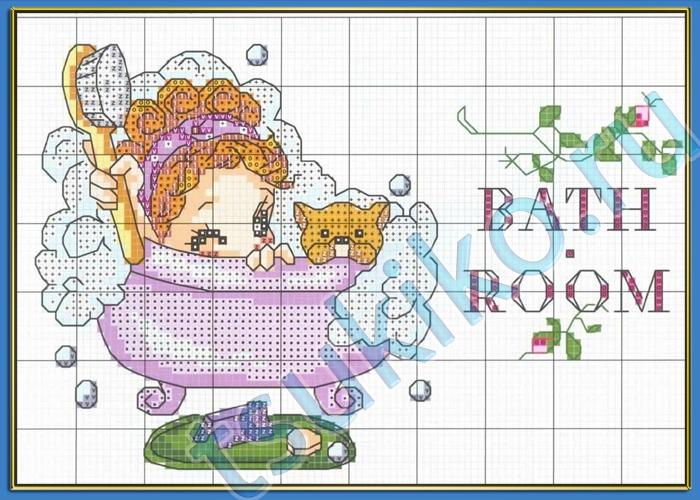 Вышивка крестом схемы для туалета и ванны - учимся рисовать .