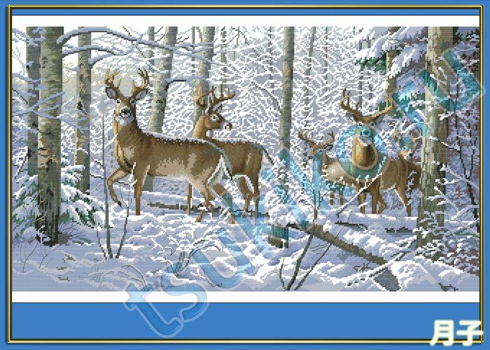 Олени в зимнем лесу вышивка